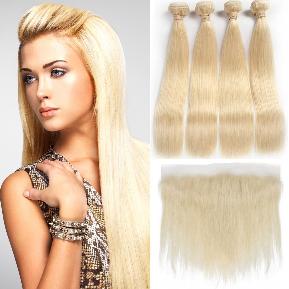 Brésilienne Droite 613 Blonde à l'oreille 13x4 Fermeture frontale en dentelle avec 4 faisceaux de cheveux humains vierges blonds Bundles Weaves Extensions