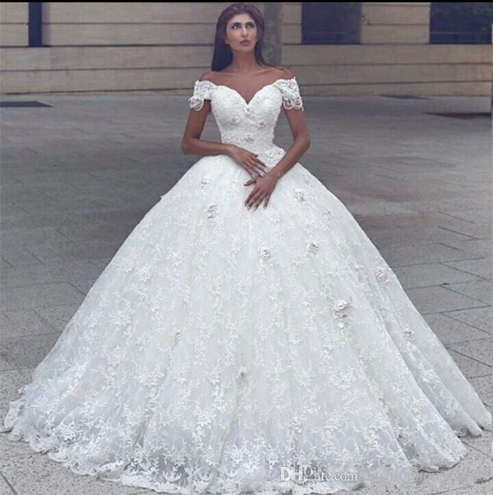 2018 Arabic Sweetheart Ball Gown Wedding Dresses Off Shoulder 3D Flowers  Beaded Pearl Lace Princess Floor Length Puffy Plus Size Bridal Gown Ball  Gowns ... 9ab82026f657