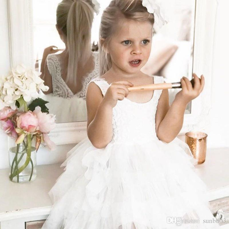 New Baby Girls Princess Dress Kids Lace Tulle Embroidery Bubble Skirt Children Girl Ball Gown Tutu Party Dresses 13664