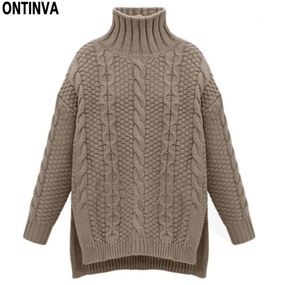 a2a0e18c897636 2019 Turtleneck Knitted Twist Pattern Sweater Winter Oversized Girls  Sweaters Tops Woman O Neck Long Sleeve Thick Pullovers Jumper From  Baldwing