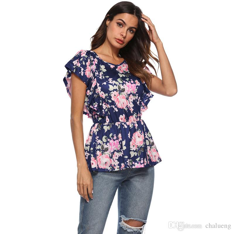 ec8f4609477 Womens T Shirts Summer O Neck Short Sleeve Floral Print Peplum Casual Tops  Tee Shirts Femme Tops   Tees Plus Size Trendy T Shirts Offensive Shirts  From ...
