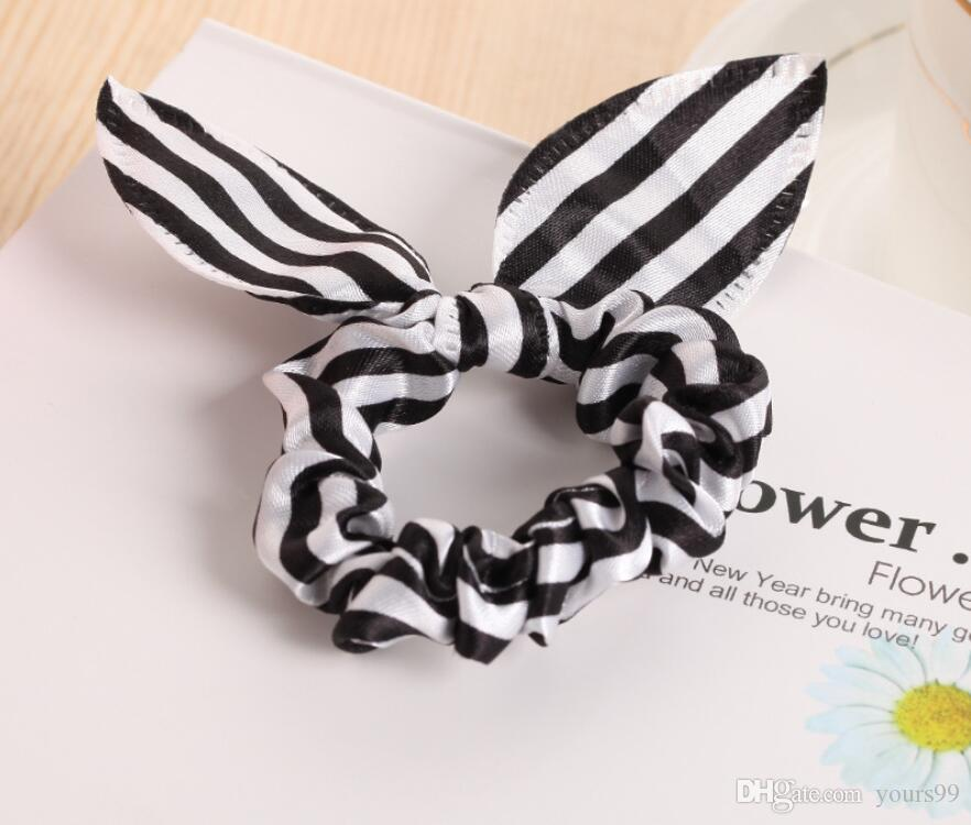 Children women Hair Band Cute Polka Dot Bow Rabbit Ears Headband Girl Ring Scrunchy Kids Ponytail Holder Hair Accessories