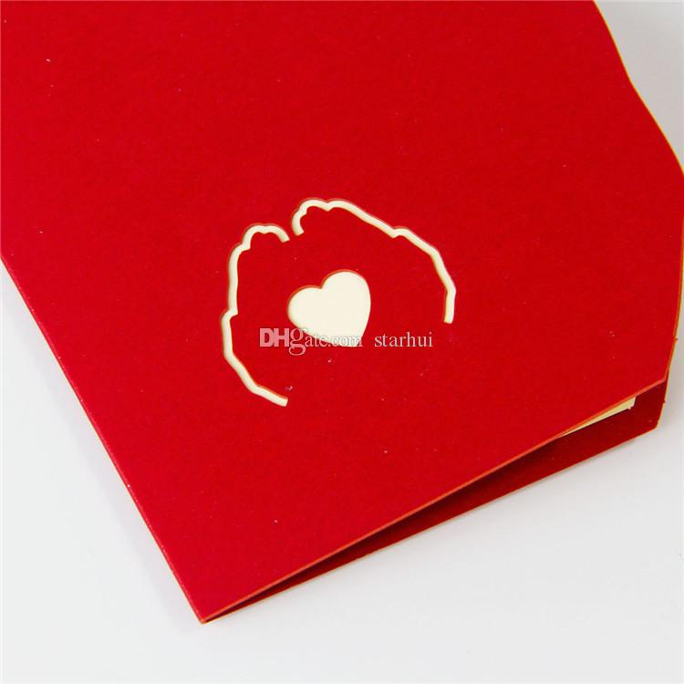 Newest Love in the Hand 3D Pop UP Greeting Card Valentine Day Anniversary Birthday Christmas Wedding Party Cards Postcard Gifts WX9-266