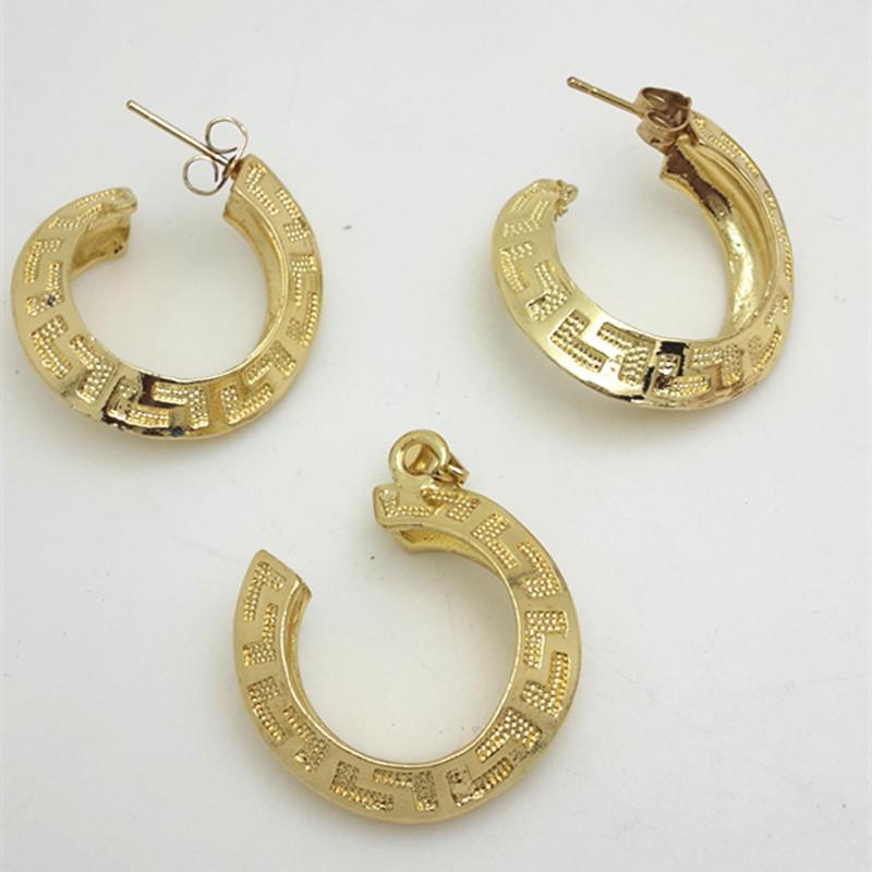 Ethiopian Schmuck Mode Scroll Anhänger Halskette Und Tropfenohrring Set Frauen Dubai Afrikanische Schmuck Sets Gold-farbe