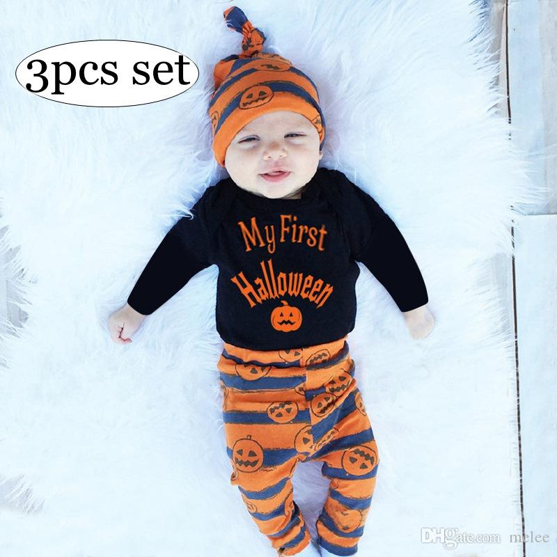1f42bc849f9 MY FIRST HALLOWEEN 0 2Y INS Halloween LETTER PRINT INFANT Cotton Romper    Kids Orange Pumpkins Print Pp Pants   Baby Holloween Hats UK 2019 From  Melee