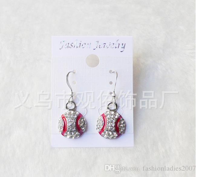Hot Selling European Sport earrings Fashion Full Rhinestone Basketball Volleyball Rugby Softball Baseball football Long Earrings