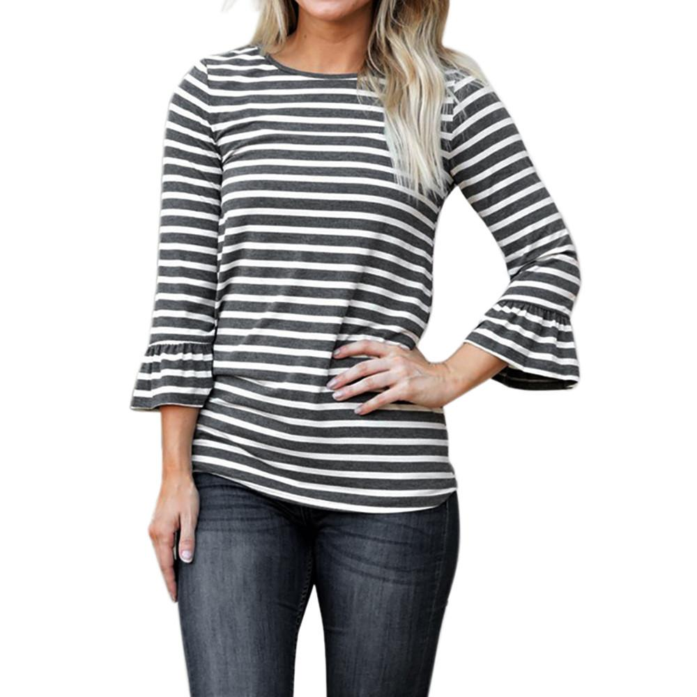 7a2afc127ad Autumn Women Plus Size Loose T Shirts Pullover Flare Sleeve Stripe Casual Tops  Shirts Blusas Femininas Poleras De Mujer Moda Online with  45.34 Piece on  ...