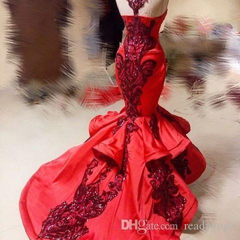 Sparkly paillettes applique pizzo sirena abiti da sera formale 2018 modesta volant gonna fishtail Yousef aljasmi rosso abito da ballo di lusso