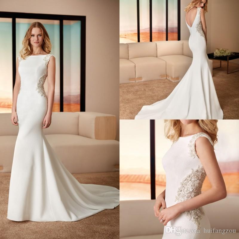 0571690472 High Quality Mermaid Wedding Dresses Bateau Neckline Slim Fit Appliques  Beaded Sweep Train Bridal Gowns Backless Designer Vestido De Novia Knee  Length ...