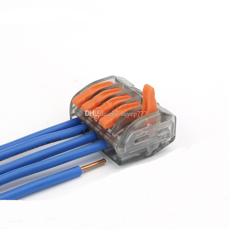 Push Wire Connector Lever Terminal Block PCT-215 222-415 5 Pin Universal Compact Connectors Terminals 400V 32A transparent