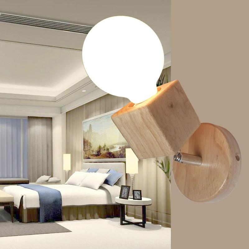Großhandel Moderne Holz Wandleuchte Swing Head Nachtlicht Kreative ...
