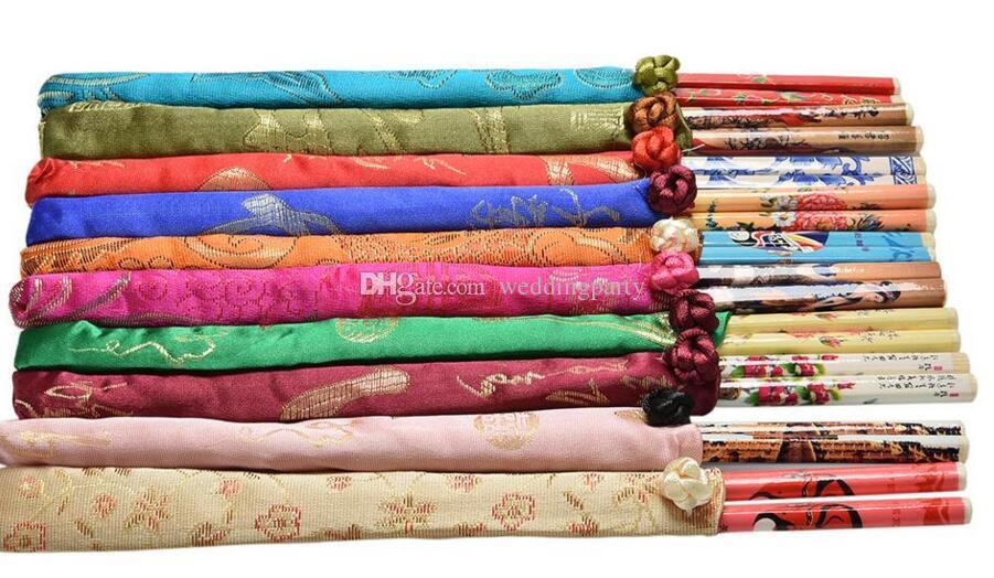 Best Gifts Chinese Silk Chopstick Sets Travel Souvenir Craft Bamboo Chopsticks Decoration Kitchen Cooking Tools Wholesale