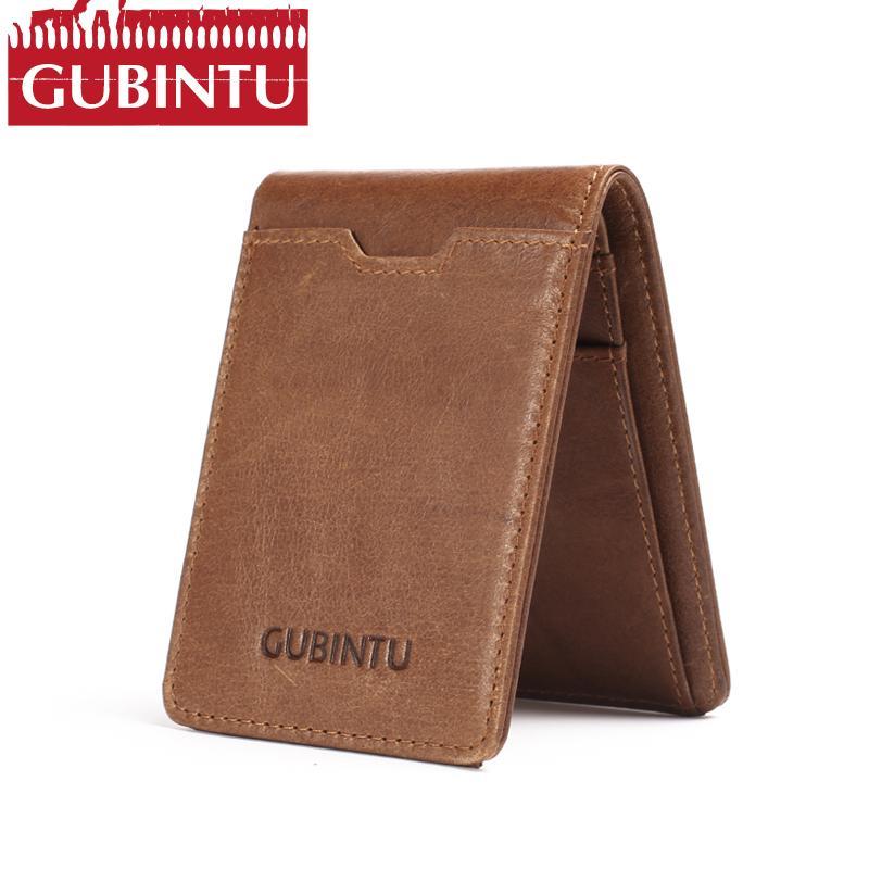 2d374c788ff6 Slim Bifold Wallet GUBINTU Vintage Genuine Leather Men Money Clip RFID  Blocking US Dollars Thin Card Pocket Male Short Wallets