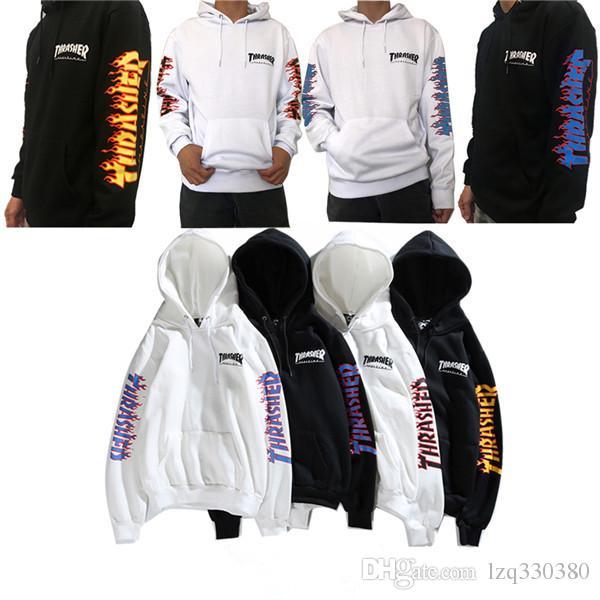 18SS Fashion Brand Classic Thrasher Armband Flame Hooded Sweater Men S  Women S Super Shirt Hoodie Outdoor Shirt UK 2019 From Lzq330380 9b956fdf0
