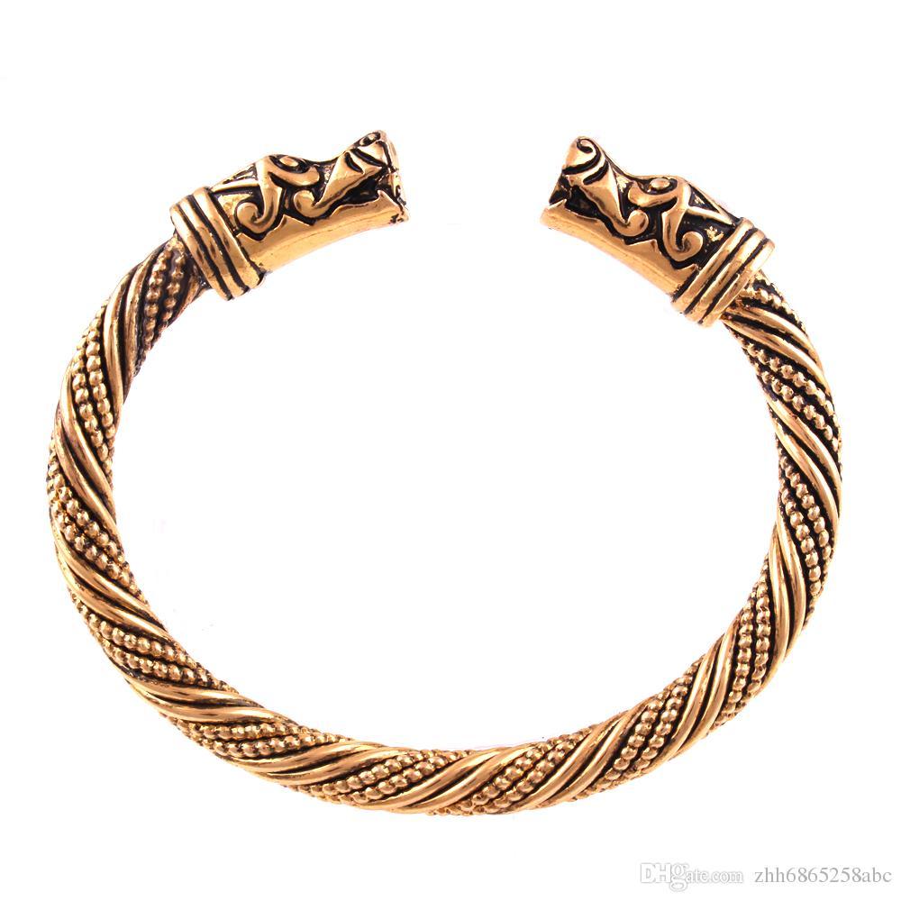 VB300025 Handgefertigte Öffnung Vikings von Midgard Armreifen Çift kurt Wasserhahn Kopf Armband zweiköpfige Wolf Männer Kol Bandı