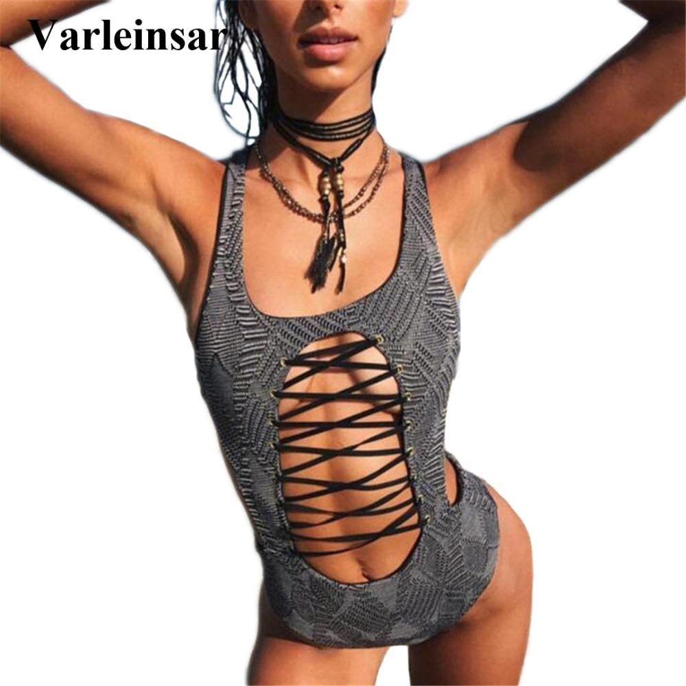 bf0e3358fac83 2019 2017 New Lace Up Tummy Cut Out Sexy 1 One Piece Swimsuit Bathing Suit  Swim Suit For Women Swimwear Female Monokini Bather V567 From Watch2013, ...