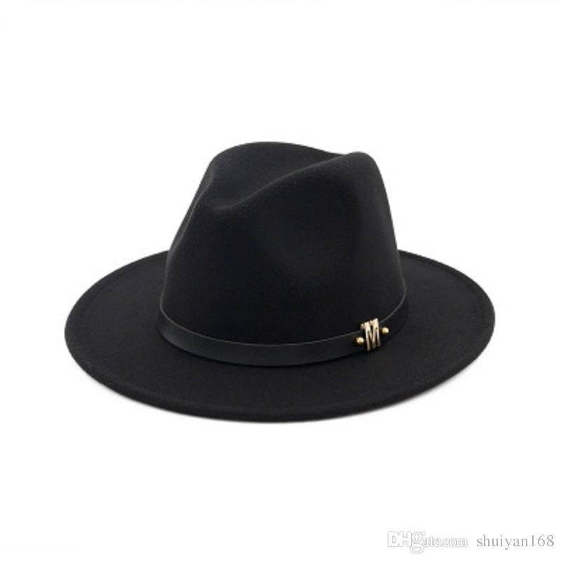 Acquista M Brand Black Winter Cappelli A Tesa Larga Wool Papà Fedora Hat  Gentleman Woolen Jazz Church Cap Vintage Panama Sun Cappello A Cilindro  Cheap A ... 45f4d47cc85f