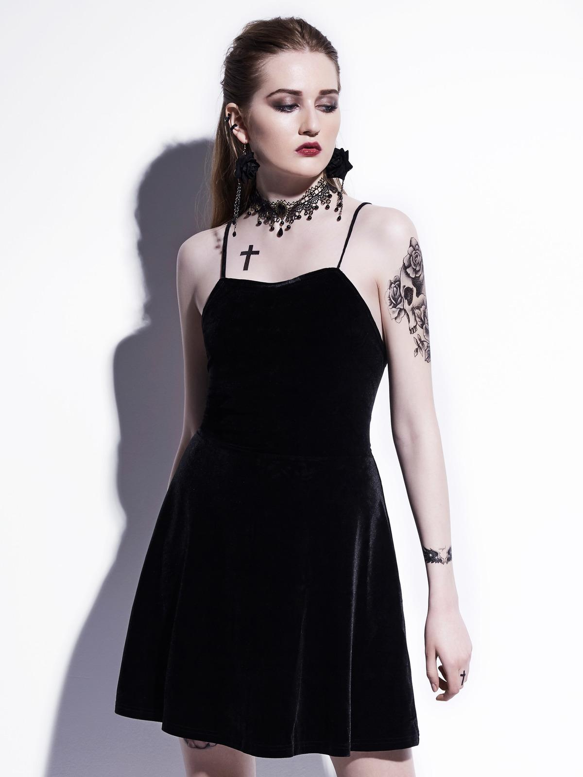 b0c797c3343b3 Gothic Mini Dress 2018 Black Summer Women Sexy Short Dress Velvet Backless  Lace Up Spaghetti Strap A Line Goth Dresses Sexy Dresses Vintage Dresses  From ...