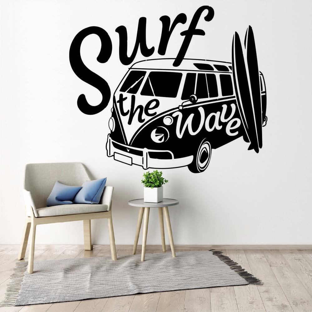 Modern wall decal surf the wave with camper car old vintage auto car wall mural vinyl camper van wall poster decal your wall decals from xymy757