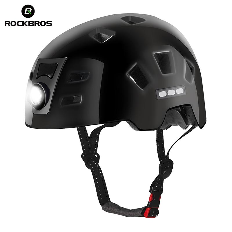 ROCKBROS Bike Headlamp Cycling Helmet Men Women Integrally-molded Bicycle Front Light Helmet Sports Safety MTB Bike Cap