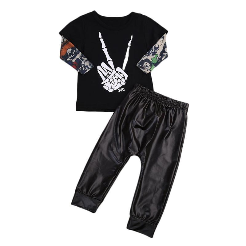 db9fbc9cdd632 Kleinkind 0-2 T Baby Kinder Jungen Kleidung set baby punk stil rock set  Tops T-shirt chaparejos junge Outfits