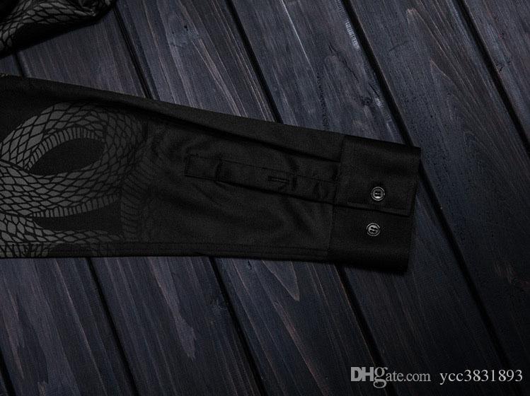 Hot sale Men Shirt Chemise Homme Unique powerful snake Black Printed Plus size 3XL Camisa Mascul Design Mens Slim Long Sleeve Dress Shirts