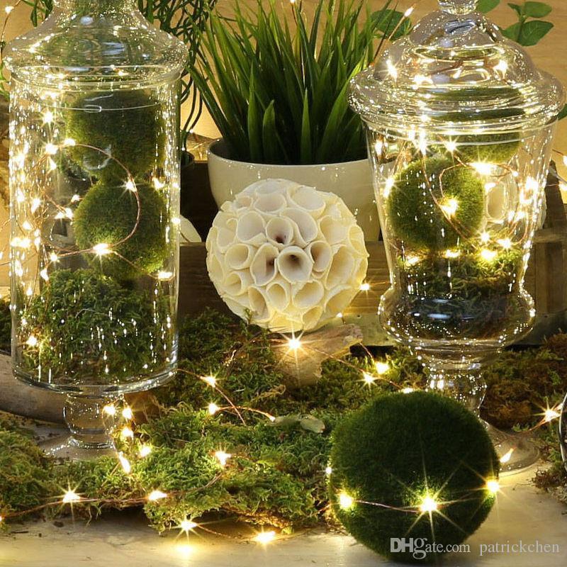 2M 20LED Fairy Lights 20 LED Micro Starry Light CR2032 Кнопка с батарейным питанием Серебряная строка для рождественских свадебных украшений
