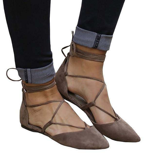 ef6124afcf7 Compre Zapatos Planos Con Cordones Para Mujer Con Vendaje Cruzado Y Punta  Estrecha A $31.16 Del Oreeee   DHgate.Com