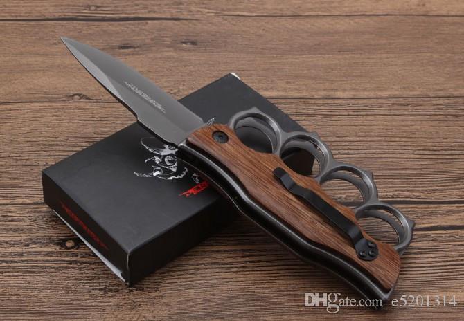 Soğuk çelik X71 bıçak Knuckle Duster katlanır bıçak 5CR15MOV Bıçak Alüminyum ahşap Kolu avcılık açık kamp bıçak ücretsiz kargo
