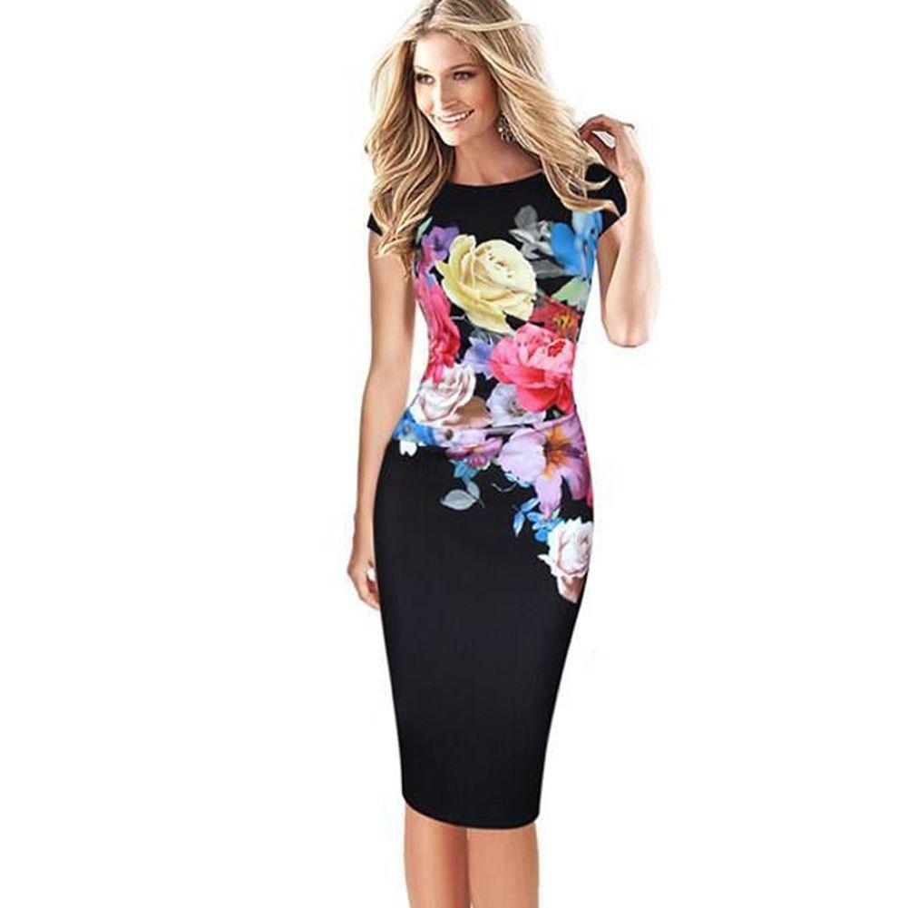 d0f35dd59d2c 3XL Plus Size Elegant Women Midi Dress Floral Print Bodycon Dress Short  Sleeve Ruched Formal OL Work Wear Casual Pencil Dress White Dresses For  Parties ...