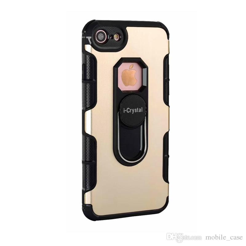 For Iphone X New Invisible Bracket Shockproof Hybrid Armor Metal Phone Case For iPhone 8 7 plus 6S 5 Samsung S9 S8 J5 2016 note 8 A6 A8 2018