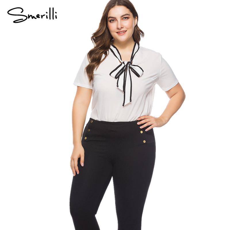 brand new e7f24 eb0b7 Camicia bowknot da donna estiva 2018 Camicia chiffon da donna plus size  Camicia da donna blusas elegante nera
