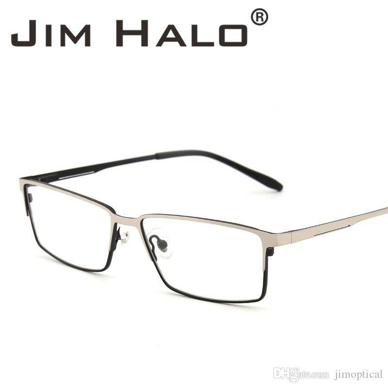 32389d1d891 2019 Jim Halo Retro Style Non Prescription Lightweight Optical Glasses  Metal Frame Spring Hinge RX Able Eyeglasses Plain Clear Lens Men From  Jimoptical