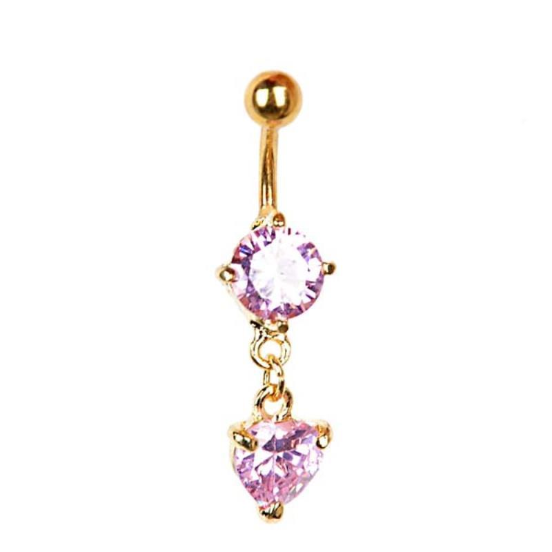 Charming Luxury Crystal Rhinestone Body Piercing Jewelry Belly Button Ring Sexy Love Heart Dangle Body Navel Jewelry For Women