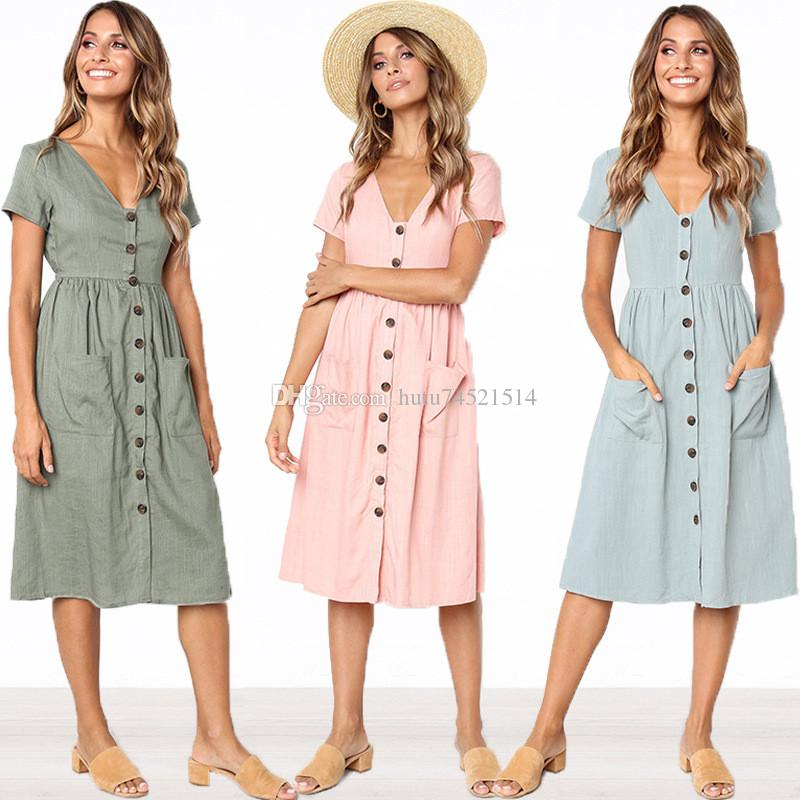 42ebb694241 2018 Women S Fashion Summer Short Sleeve V Neck Button Down Swing Midi Dress  With Pockets Beach Summer Dress Blue Lace Maxi Dress Women Long Dress From  ...