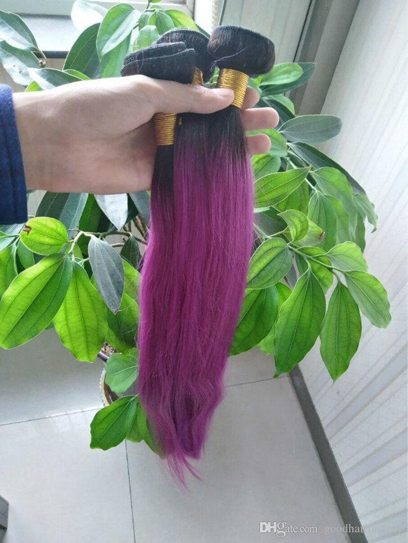 Ombre Human Straight Hair Bundles 1B Purple Two Tone Color Hair Wefts 10~28 Inch Indian No Shedding Hair Extensions
