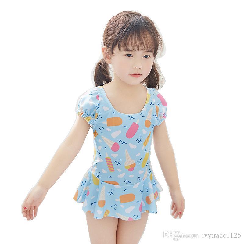 Ins fashion hot selling girl kids one piece bikini summer girl cute Cartoon Print Swimming clothes 2 styles free ship