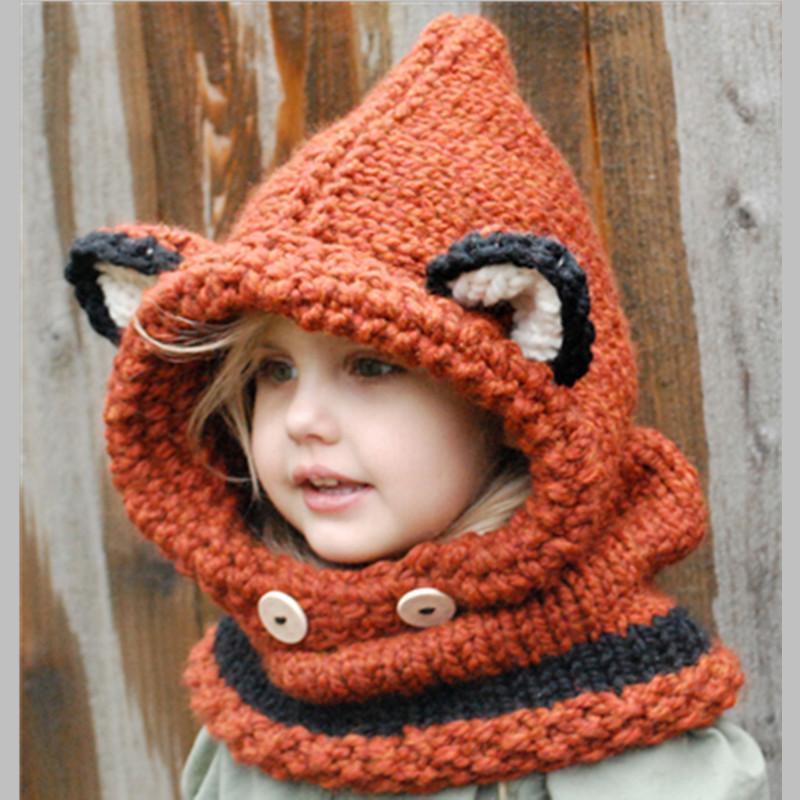 2018 Kids Crochet Hooded Cowl Handmade Cute Cartoon Fox Animal