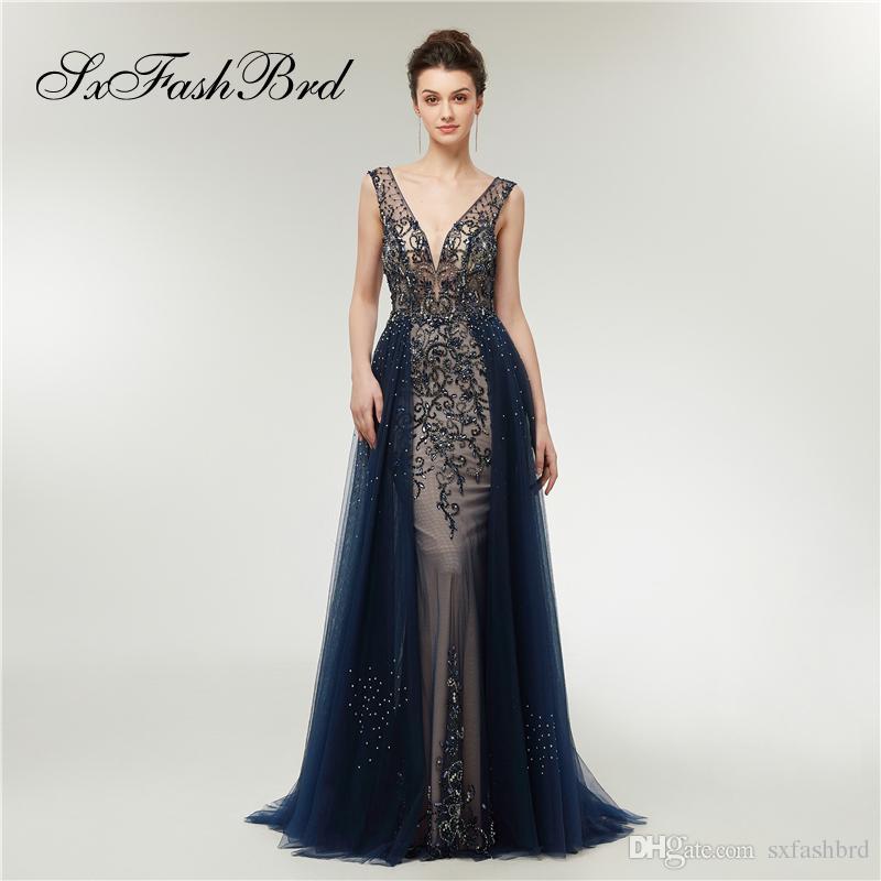 b45c6631f629 Vestido elegante Cuello en V Espalda abierta Sirena con cuentas de tul  abalorios con tren Fiesta larga Vestidos de noche formales para mujeres ...