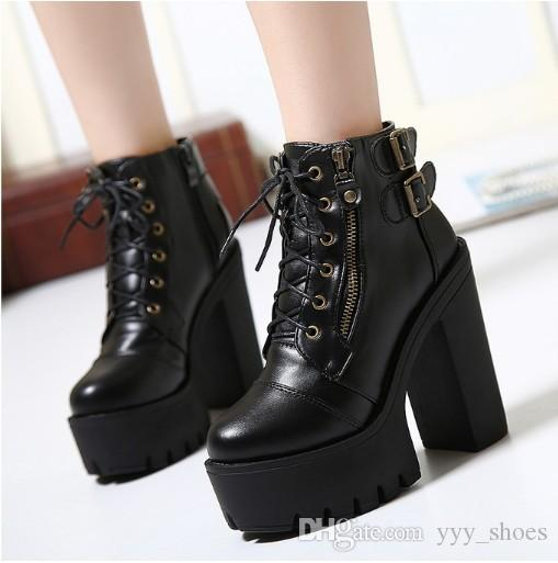 12252cbdcfae Night Club Sexy Lady Short Boots Chunky Heel Womens Shoes High Heel 13.5 Cm  Ankle Boot Martin Boots Round Toes Platform Fast Shipping Wedge Booties  Boots ...