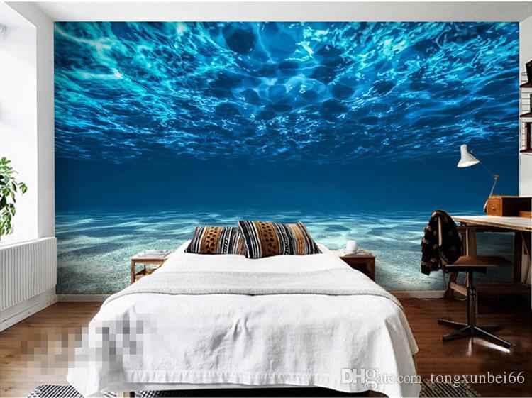 Incantevole mare profondo foto sfondo personalizzato Ocean Scenario carta da parati Grande pittura murale di seta Camera da letto bambini Art Room Decor Decorazione della casa