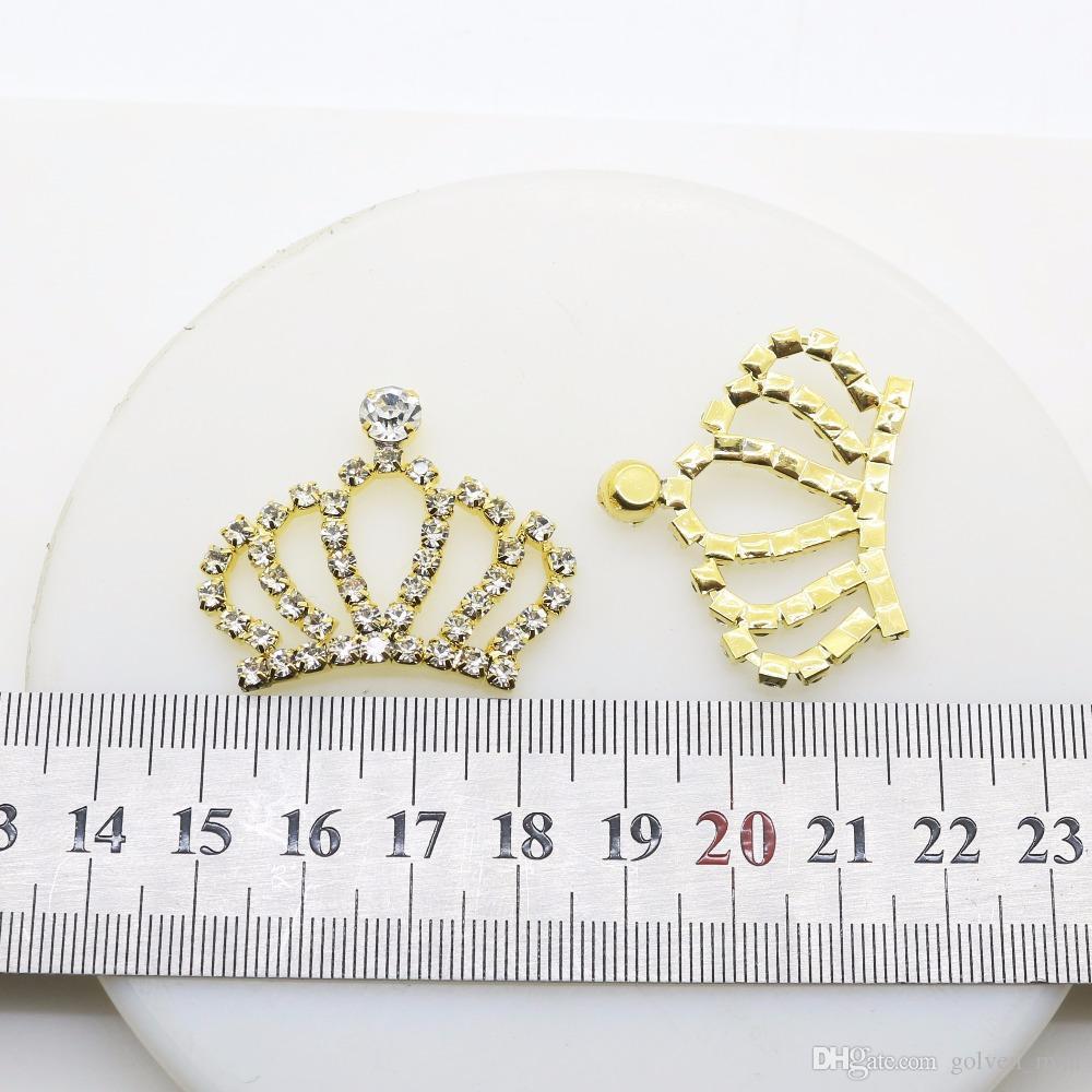 20 adet / takım 18mm Altın Elmas Emperyal Taç Düğme Yapış Flatback Düğmeler Kristal Düğün Buket Çocuk Saç Kurdele için Dekoratif