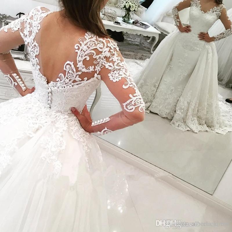 Vintage Long Sleeves Wedding Dresses With Detachable Skirt Sheer V-neck Beads Sheath Wedding Gowns Tulle Back Covered Button Bridal Dress