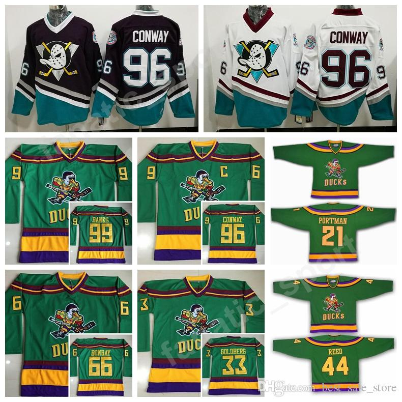 0d24ebb0f40 2019 The Mighty Ducks Movie Green 1993 Vintage Ice Hockey Jerseys 96  Charlie Conway 21 Dean Portman 44 Fulton Reed 33 Greg Goldberg Adam Banks  From ...