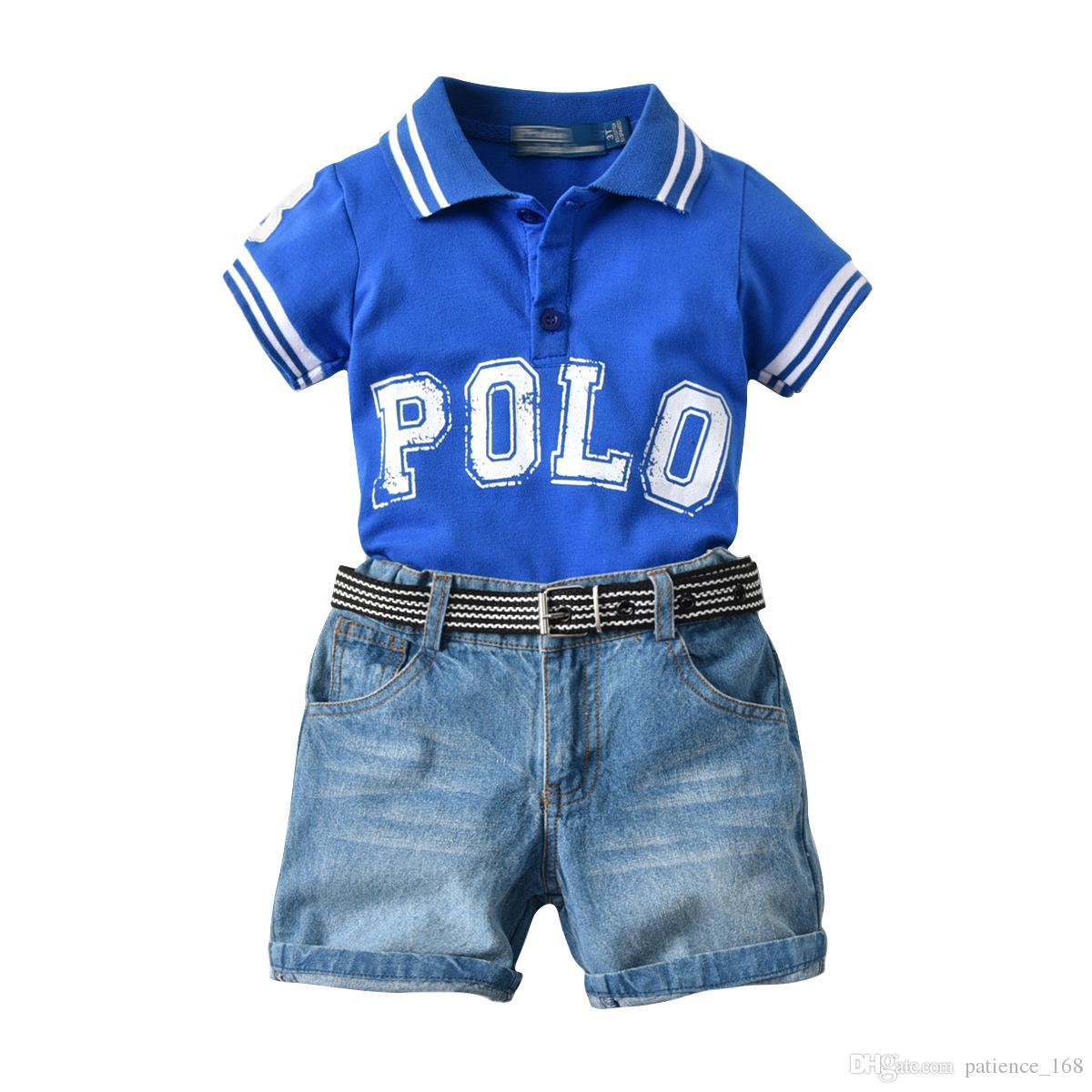 296dc5d3b502 2019 Boys Sets 2018 Baby Kids Sets Sports Suit Kids Boy Cotton Lapel ...