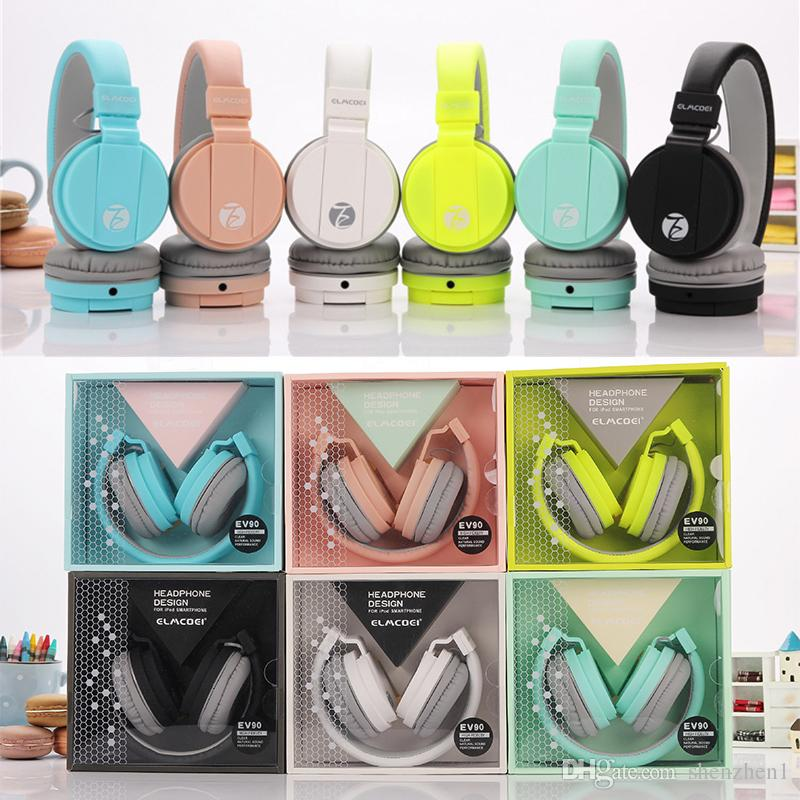 Newest Ev 90 Cute Headphones Candy Color Foldable Kids Headset With