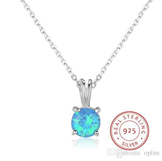 New Pure Real 925 Sterling Silver 5mm Round Blue Opal Stone Pendant ... acf34b06a05