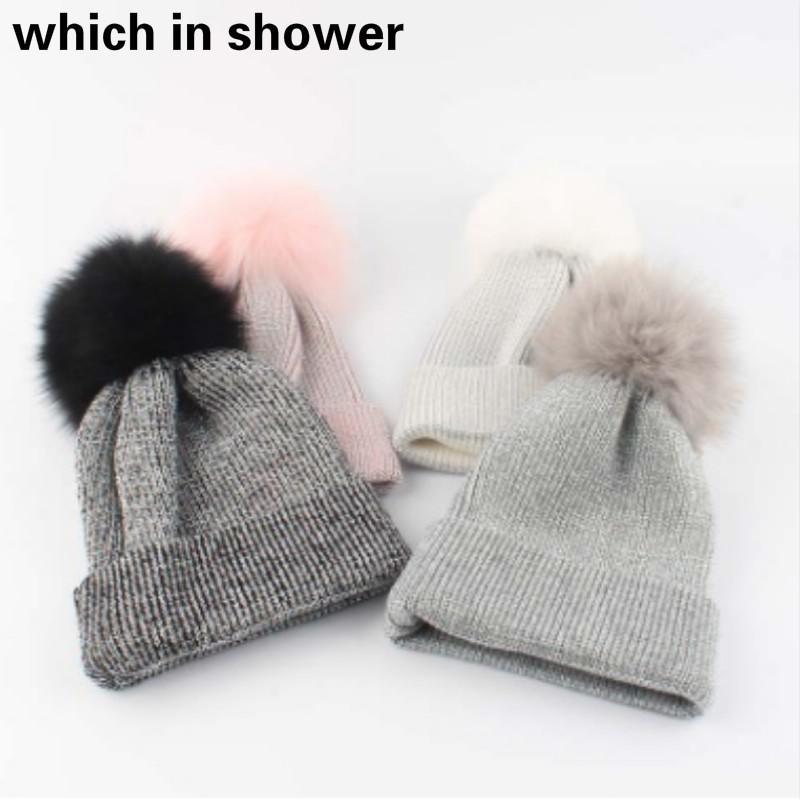 c4f1e1293c7 Real Fox Fur Pompom Knitted Hat For Kids Girl Bling Fur Pom Pom ...