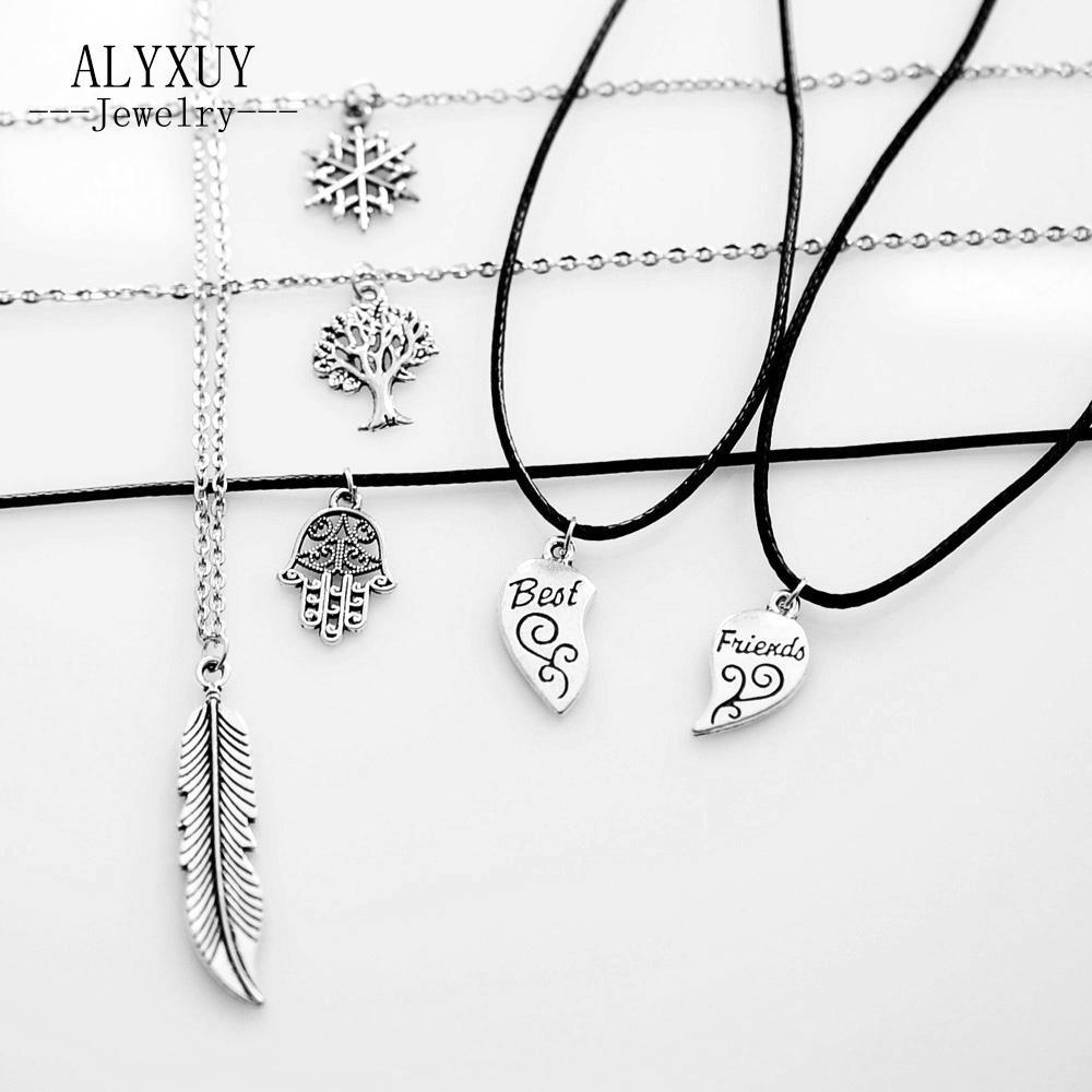 جديد الأزياء والمجوهرات العتيقة اللون الفضي القمر أحد مزيج تصميم قلادة قلادة تشمل سلسلة ربط هدية للمرأة فتاة N1734