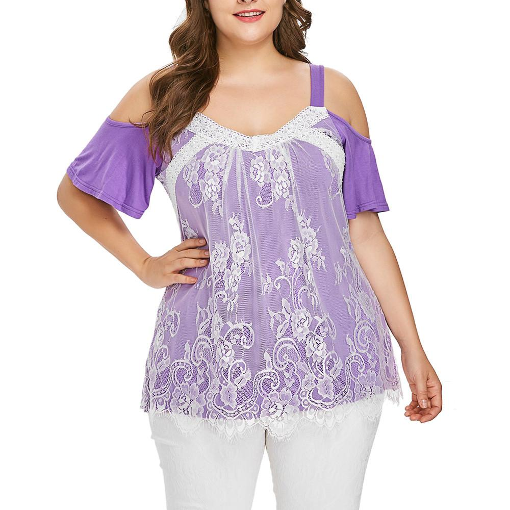 9c1d4aa8a0 Fashion Summer Plus Size Women Ladies Short Sleeve Patchwork Casual Lace  Eyelash Top Loose T Shirts